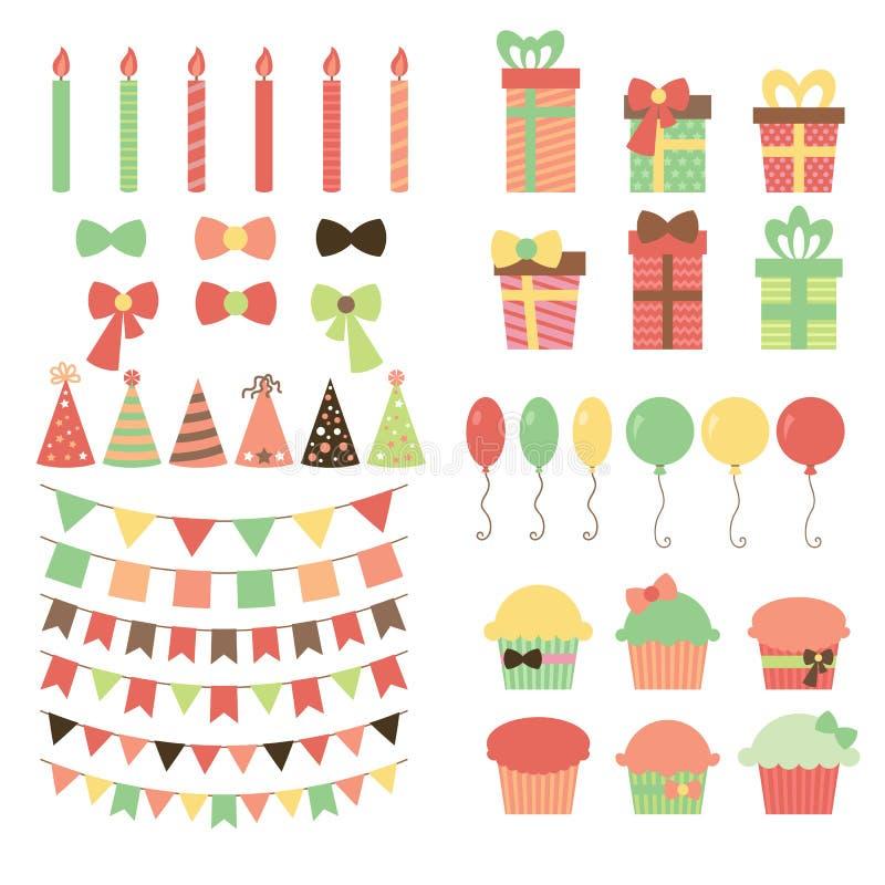 Grupo de elementos do projeto da festa de anos Balões coloridos, bandeiras, ilustração royalty free