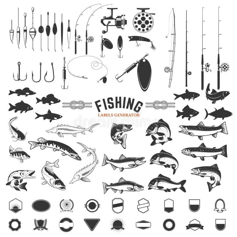 Grupo de elementos do projeto das etiquetas da pesca Ícones de Ros e de peixes des