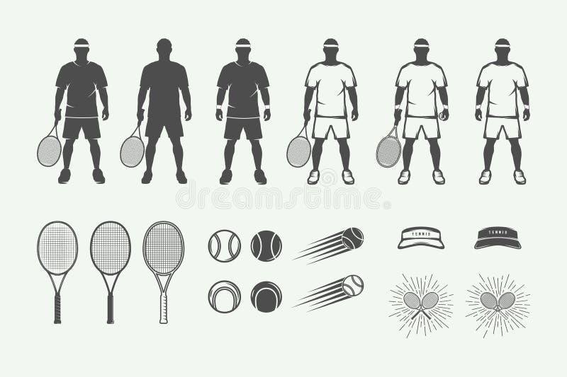 Grupo de elementos do projeto do esporte do tênis do vintage no estilo retro ilustração royalty free