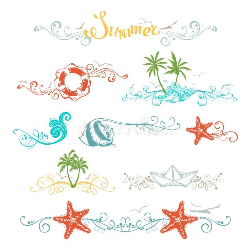 Grupo de elementos do projeto do verão e de decorações da página ilustração stock