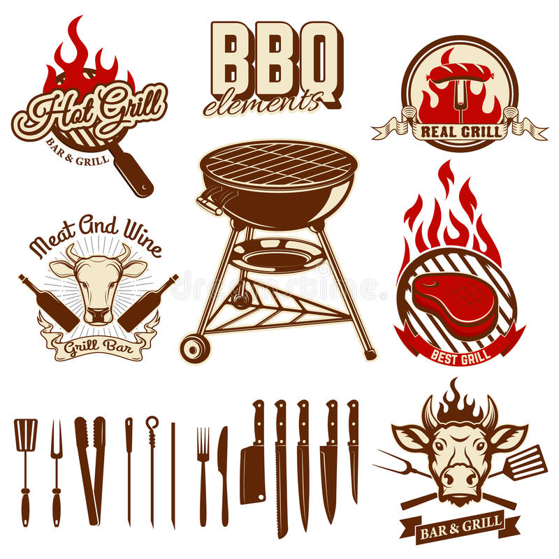 Grupo de elementos do projeto para etiquetas do BBQ e da grade Grupo de cozinha ilustração royalty free