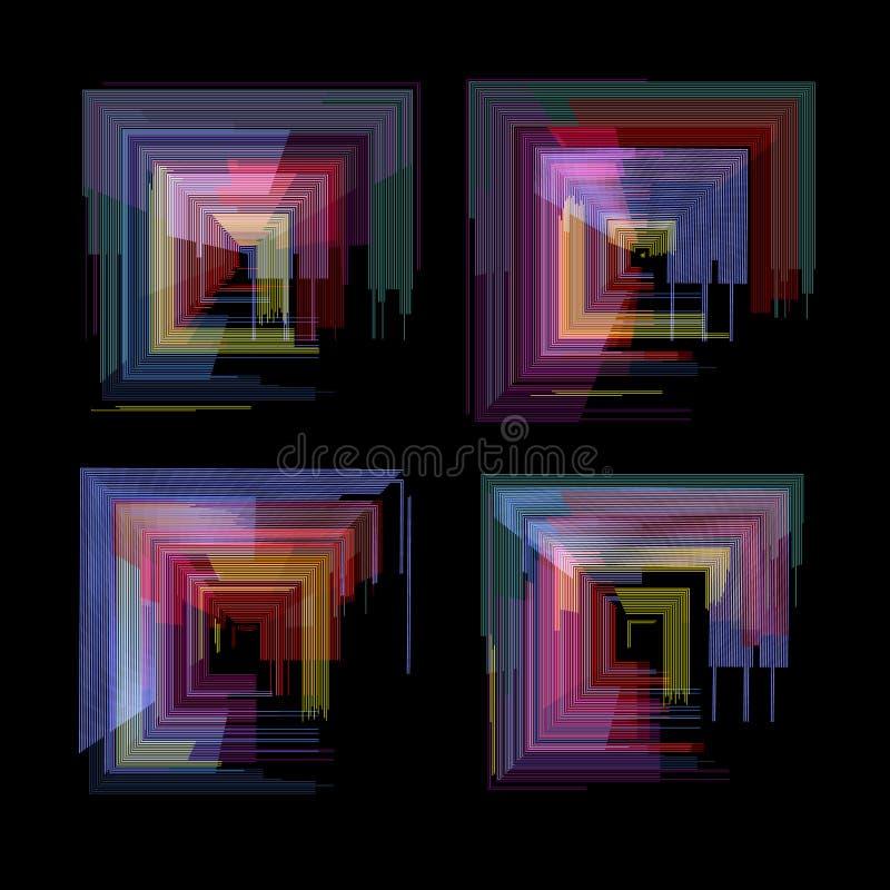 Grupo de elementos do pulso aleatório Projeto do sumário da cor do ruído do pixel de Digitas Pulso aleatório do jogo de vídeo Col ilustração royalty free