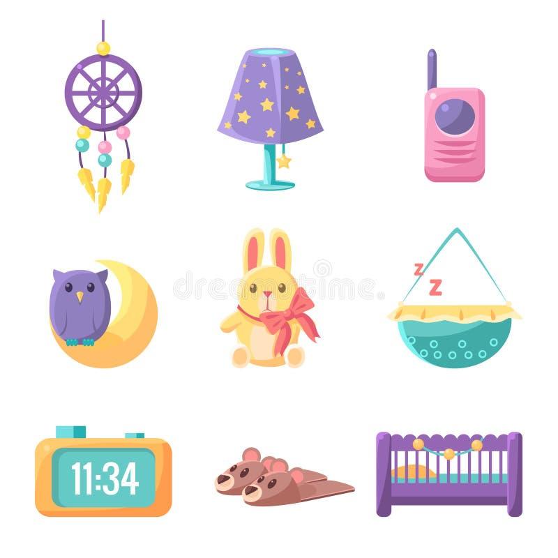 Grupo de elementos do quarto do bebê ilustração do vetor
