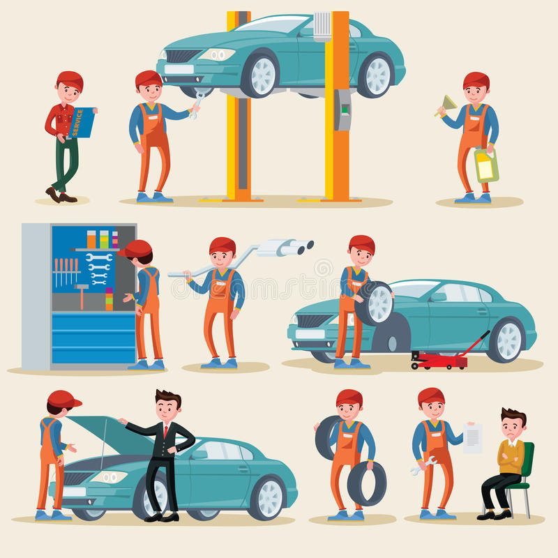 Grupo de elementos do serviço do carro ilustração stock