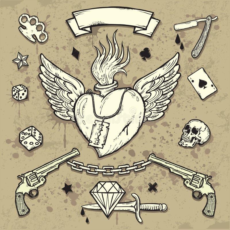 Grupo de elementos do tatuagem da velha escola ilustração stock