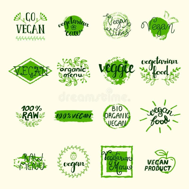 Grupo de elementos do vegetariano ilustração royalty free
