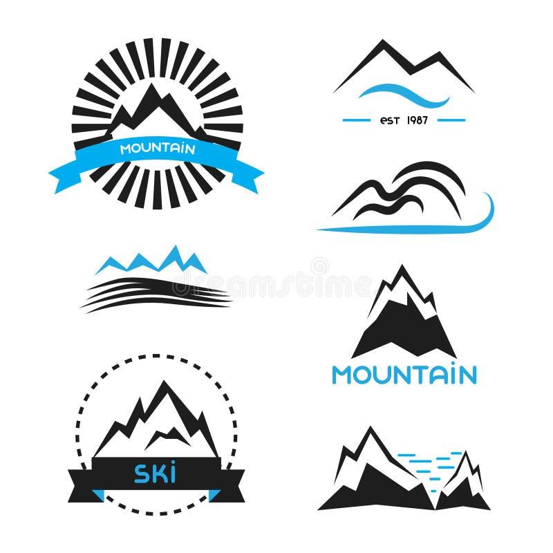 Grupo de elementos do vetor do crachá da montanha Conceitos do logotipo ilustração stock
