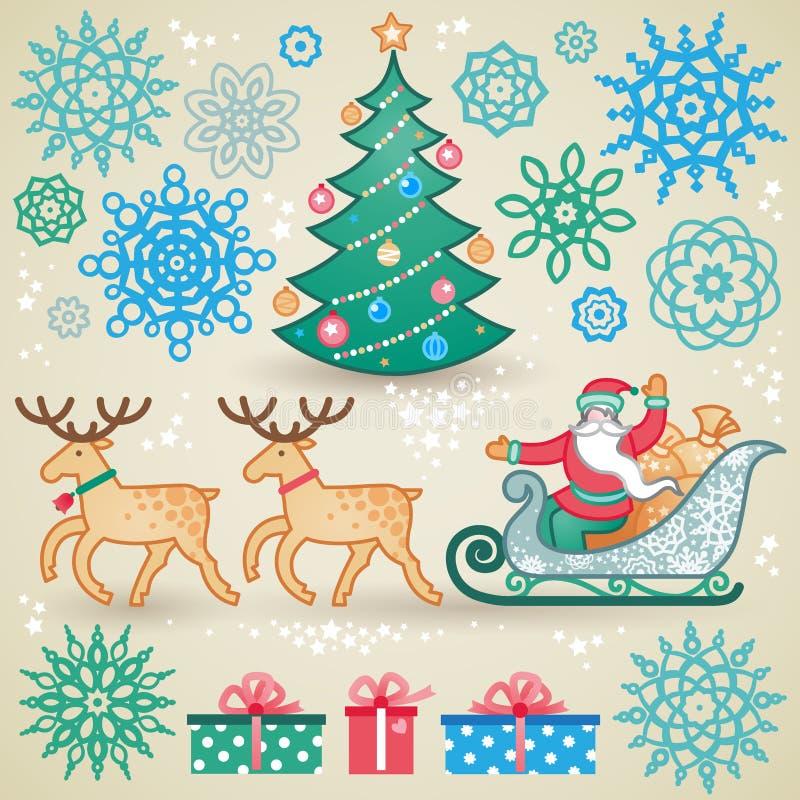 Grupo de elementos do vetor do Natal ilustração stock