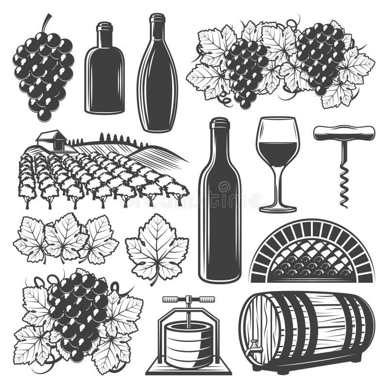 Grupo de elementos do vinho do vintage ilustração stock