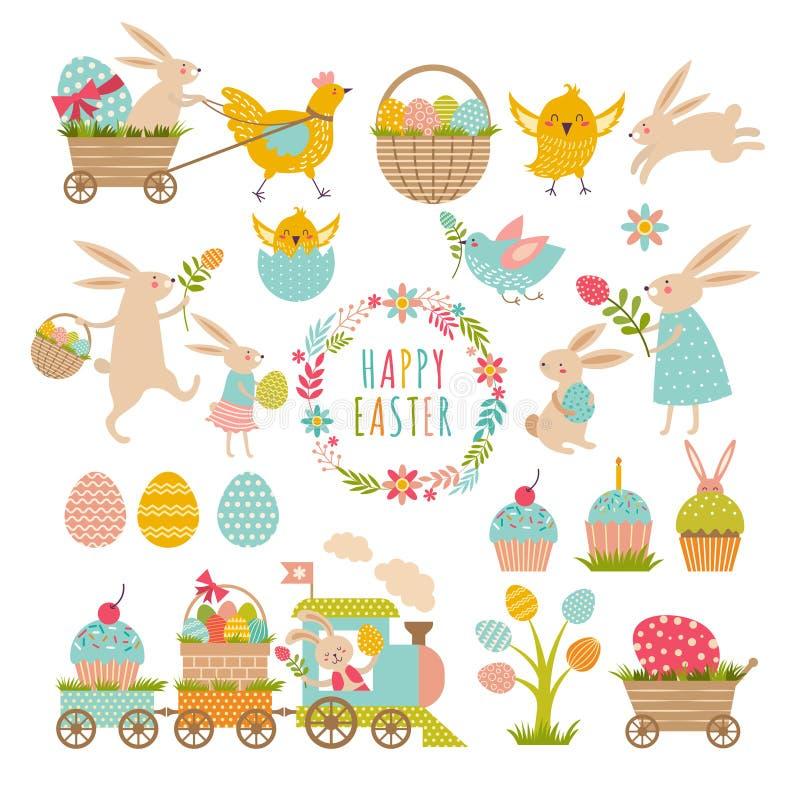 Grupo de elementos do vintage de tema de easter Coelhos, ovos, fitas e outro símbolos ilustração royalty free