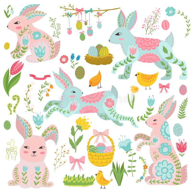 Grupo de elementos do vintage de tema de easter Coelhos, ovos, fitas e outro símbolos Ovos da páscoa e coelho, feriado ilustração do vetor