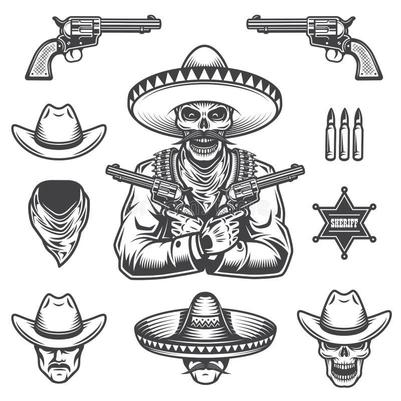 Grupo de elementos do xerife e do bandido ilustração do vetor