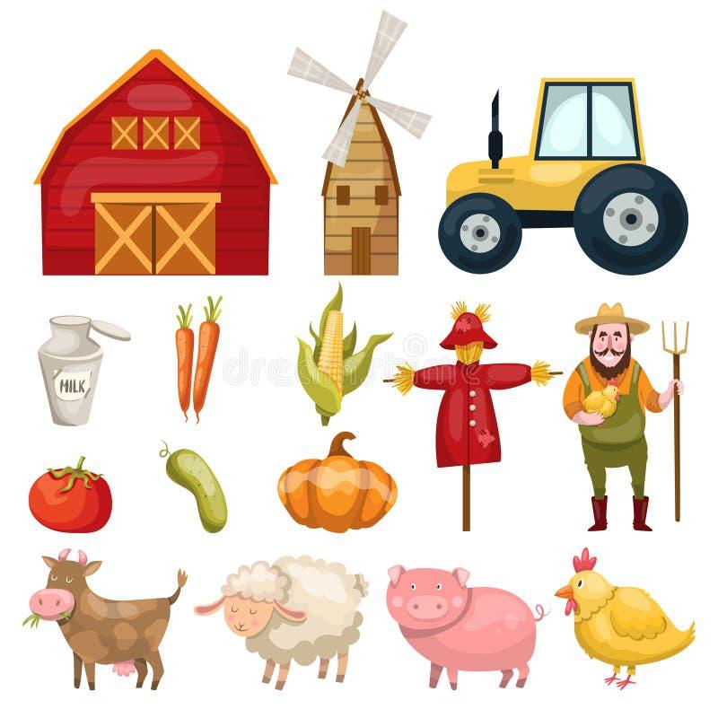 Grupo de elementos dos desenhos animados da exploração agrícola ilustração stock