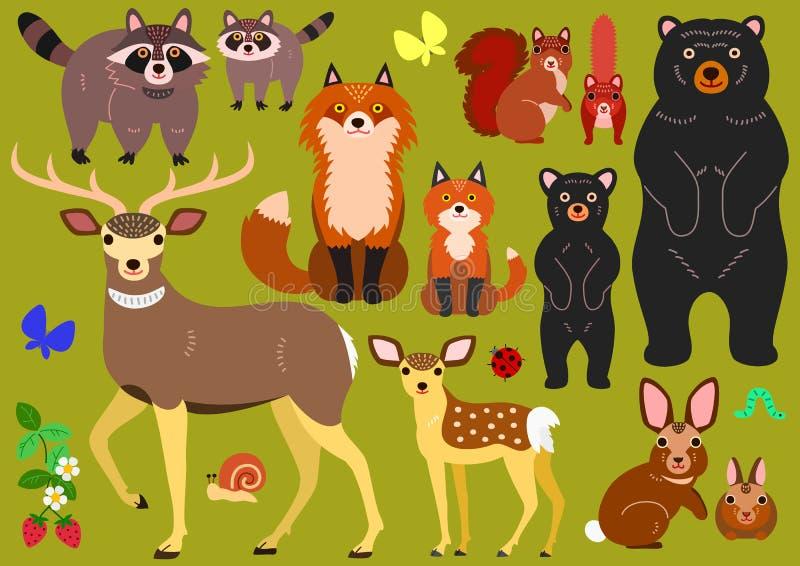 Grupo de elementos dos pais e dos bebês dos animais da floresta ilustração royalty free
