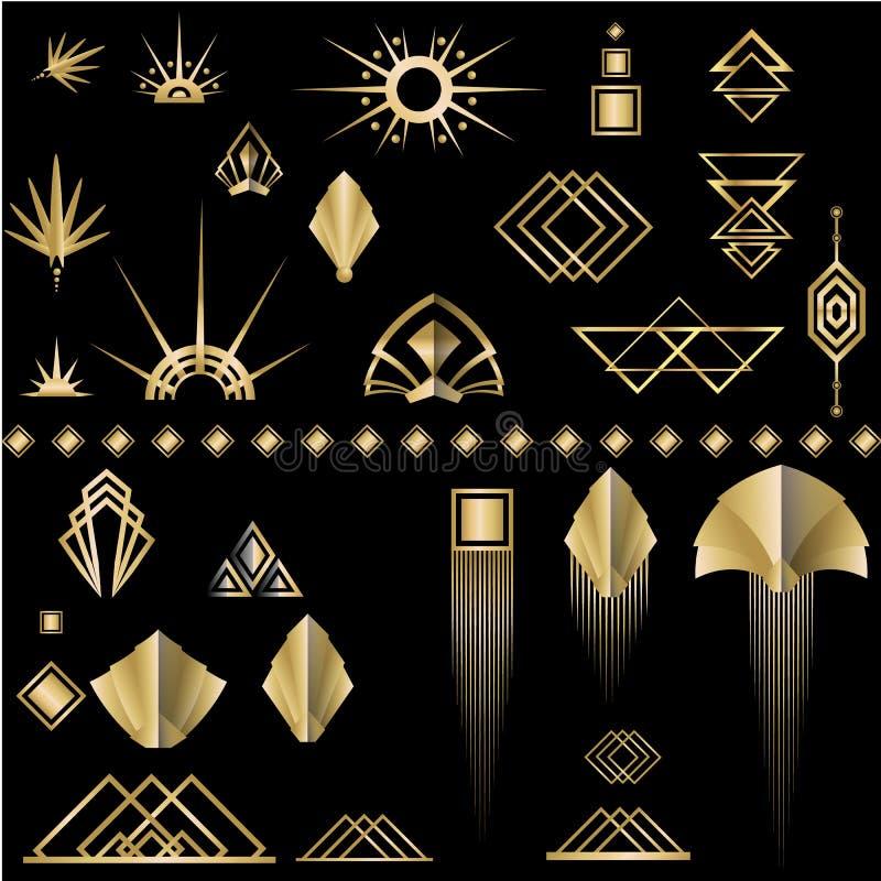 Grupo de elementos dourado-preto do molde DIY de Art Deco ilustração do vetor