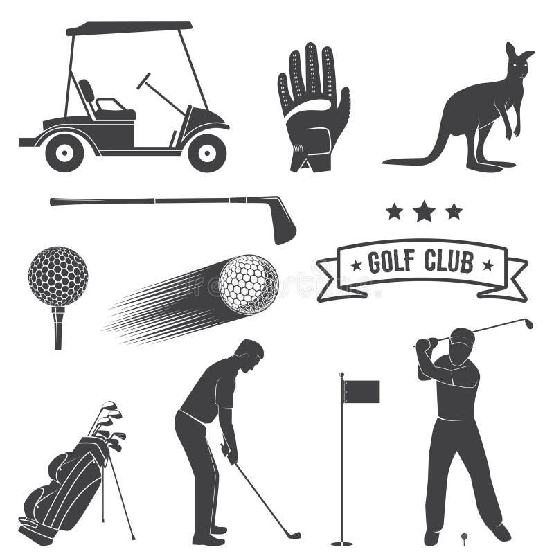 Grupo de elementos e de equipamento do golfe do vintage ilustração do vetor