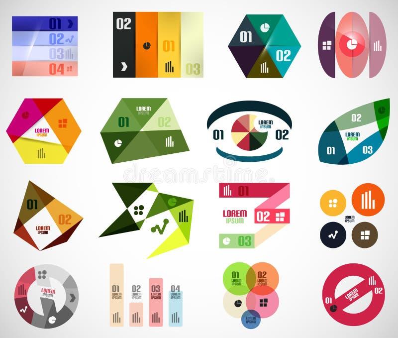 Grupo de elementos e de moldes infographic da bandeira ilustração royalty free