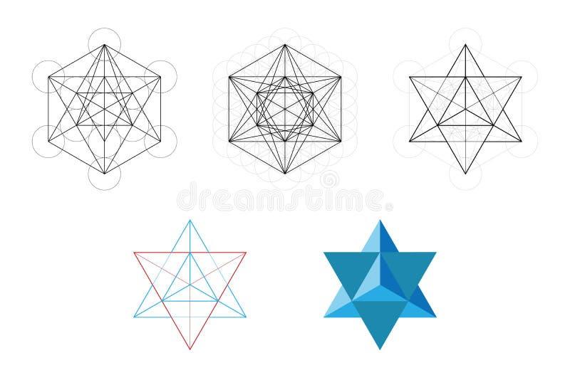 Grupo de elementos e de formas geométricos Desenvolvimento sagrado da estrela de Davids da geometria do cubo de Metatron ilustração royalty free