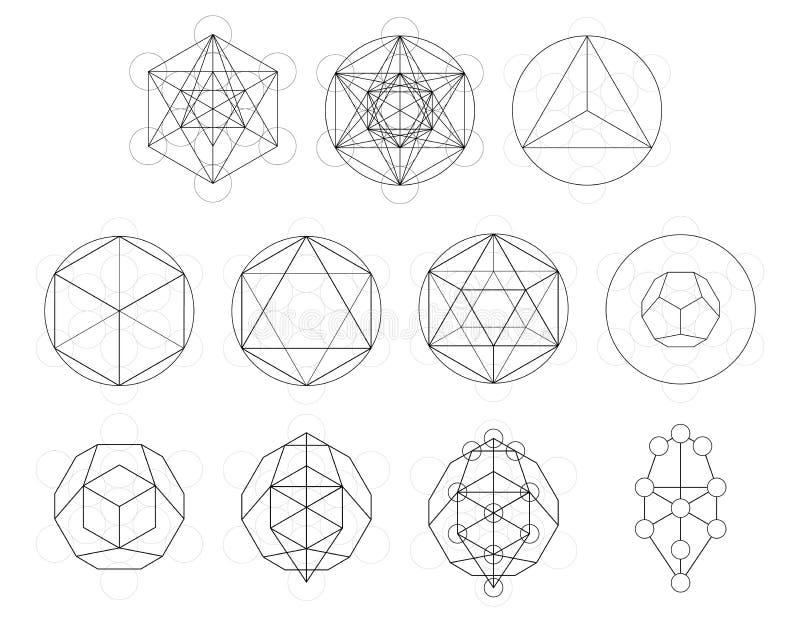 Grupo de elementos e de formas geométricos Desenvolvimento sagrado do cubo de Metatron da geometria ilustração royalty free