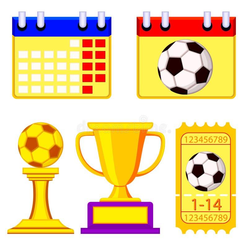 Grupo de elementos de espera do campeonato colorido do futebol ilustração royalty free