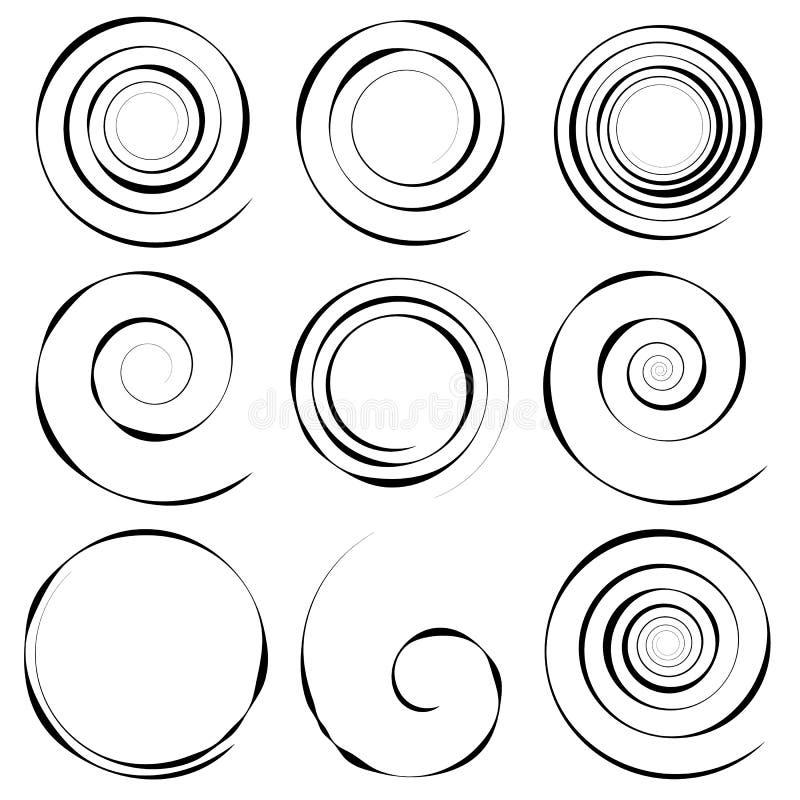Grupo de 9 elementos espirais concêntricos diferentes Geometri abstrato ilustração royalty free