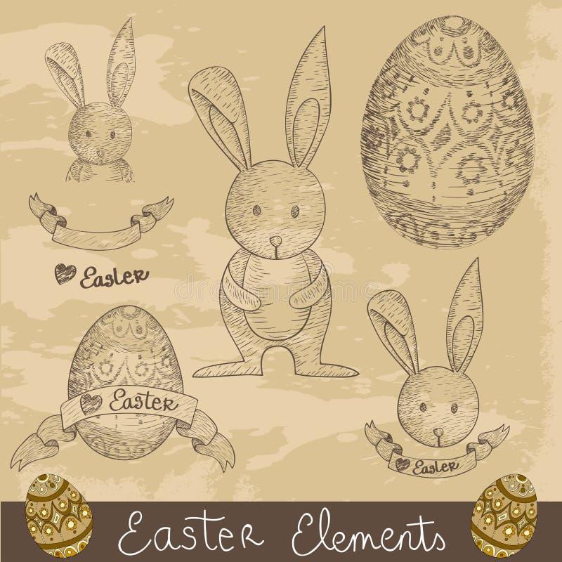 Grupo de elementos feliz de Easter do vintage ilustração do vetor