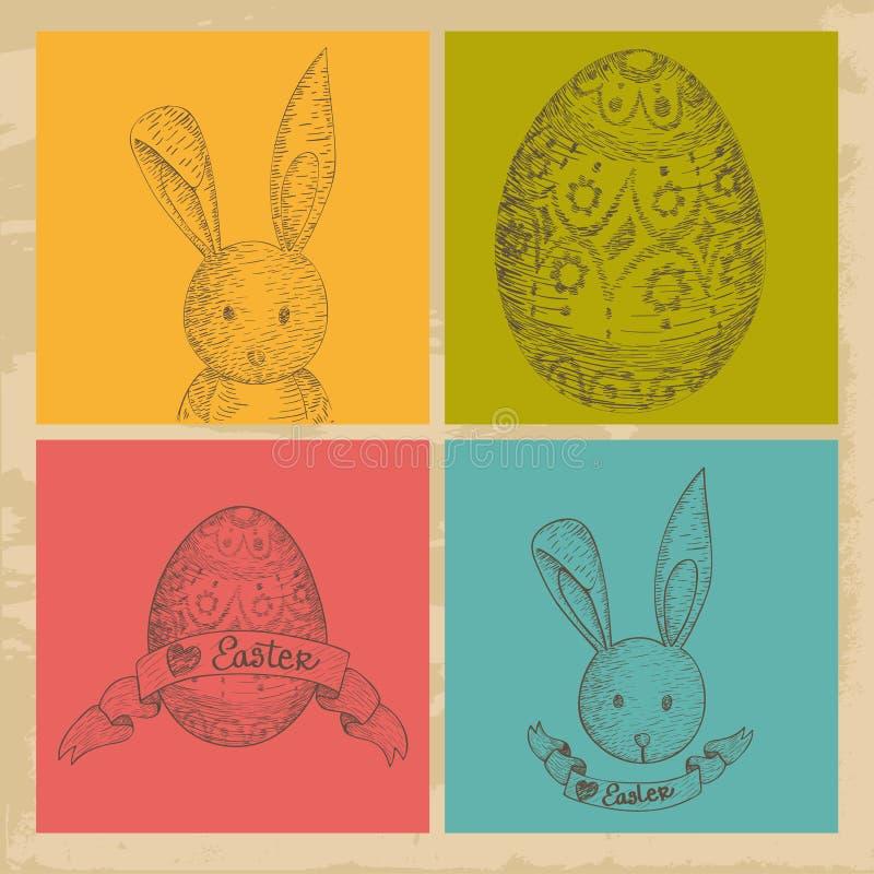 Grupo de elementos feliz de Easter do vintage ilustração stock