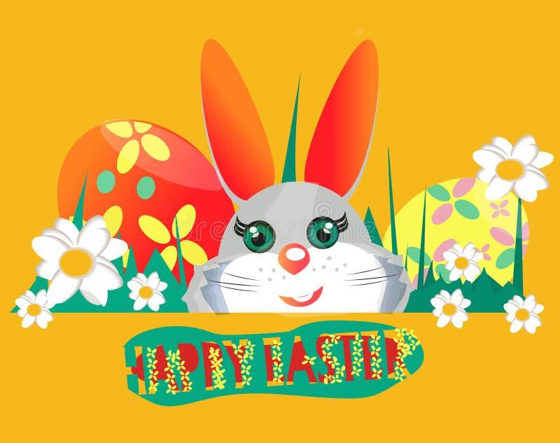 Grupo de elementos feliz do projeto da P?scoa Bandeira do coelho, cartão ilustração royalty free