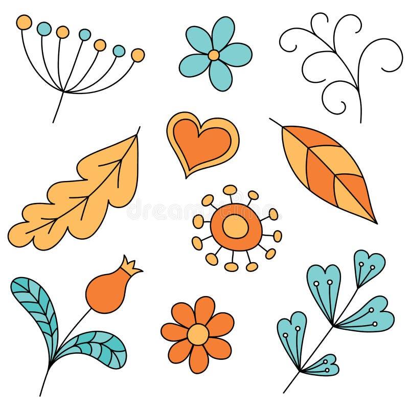 Grupo de elementos florais abstratos Doodle tirado mão ilustração stock