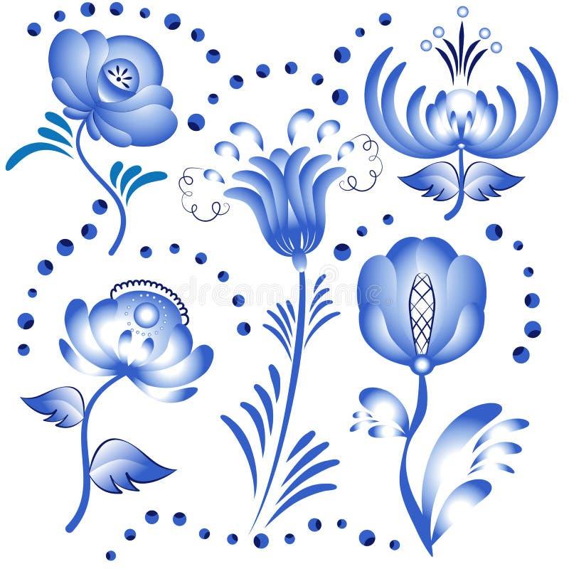 Grupo de elementos florais azuis para o projeto ao estilo de Gzhel ilustração do vetor