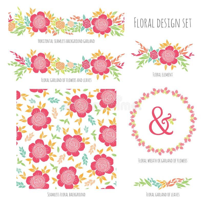 Grupo de elementos florais do projeto do vetor ilustração stock