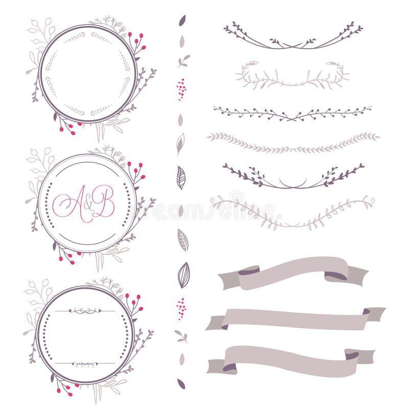Grupo de elementos florais do vetor abstrato, de quadro, de fita, etc. ilustração do vetor
