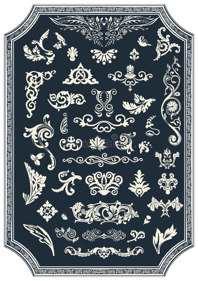 Grupo de elementos florais do vetor para o projeto Ornamento do vintage ilustração stock