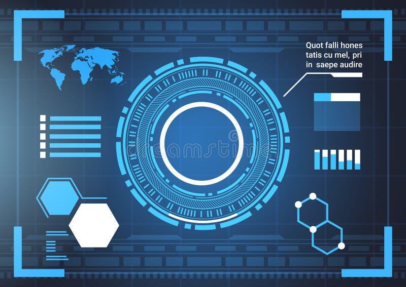 Grupo de elementos futuristas de Infographic do computador e cartas do molde do fundo do sumário da tecnologia do mapa do mundo e ilustração royalty free