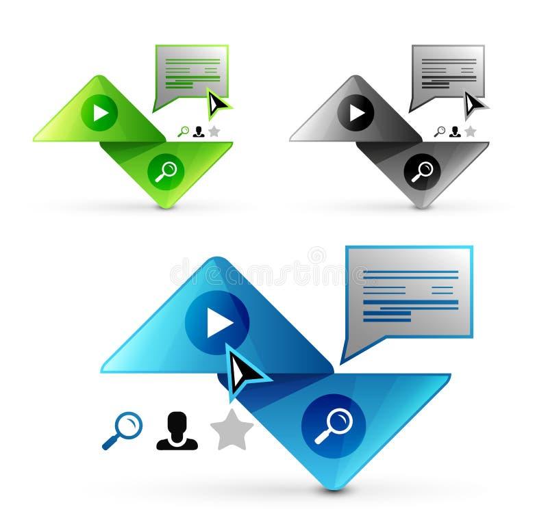 Grupo de elementos geométricos abstratos - botões do triângulo ou moldes da bandeira da Web ilustração stock