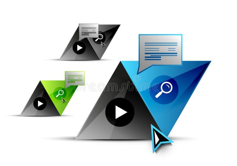 Grupo de elementos geométricos abstratos - botões do triângulo ou moldes da bandeira da Web ilustração royalty free