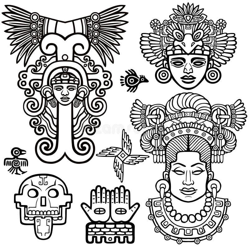 Grupo de elementos gráficos baseados em motriz do indiano do nativo americano da arte ilustração stock
