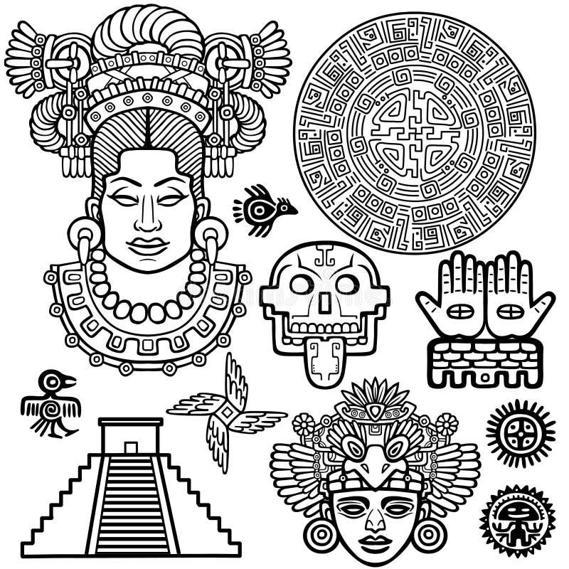 Grupo de elementos gráficos baseados em motriz do indiano do nativo americano da arte ilustração royalty free
