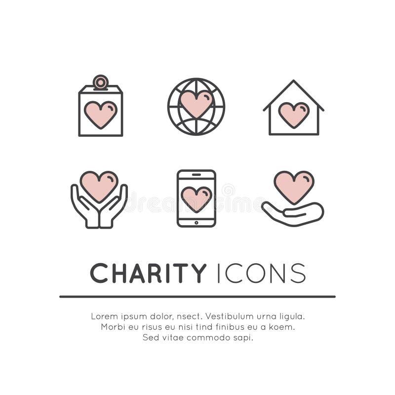 Grupo de elementos gráficos para organizações sem fins lucrativos e centro da doação ilustração royalty free
