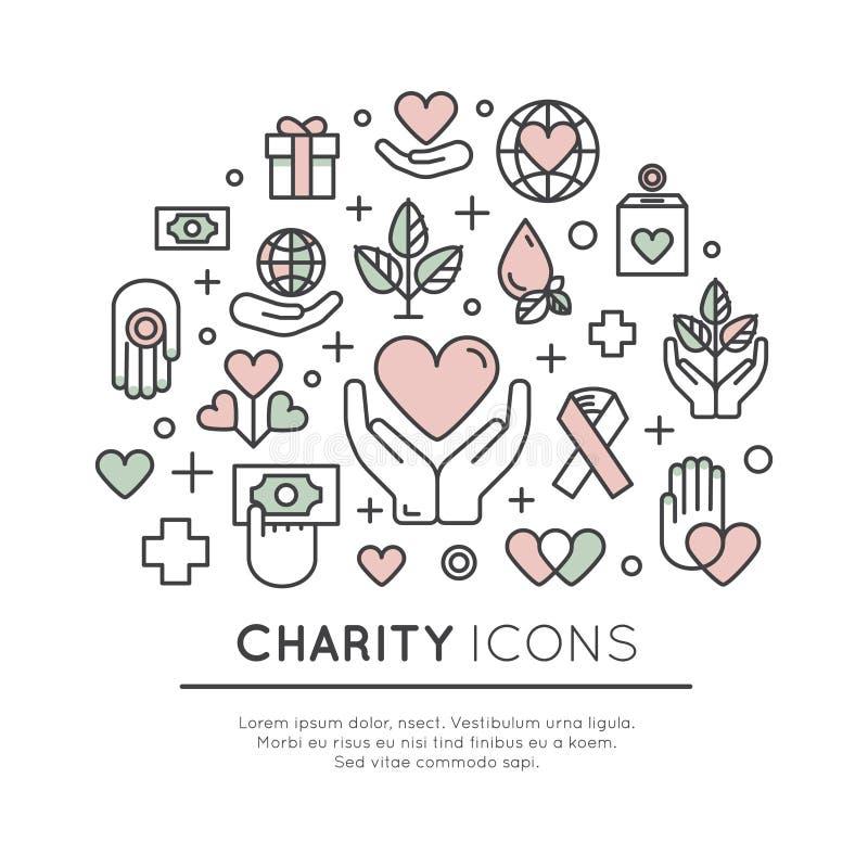 Grupo de elementos gráficos para organizações sem fins lucrativos e centro da doação ilustração do vetor