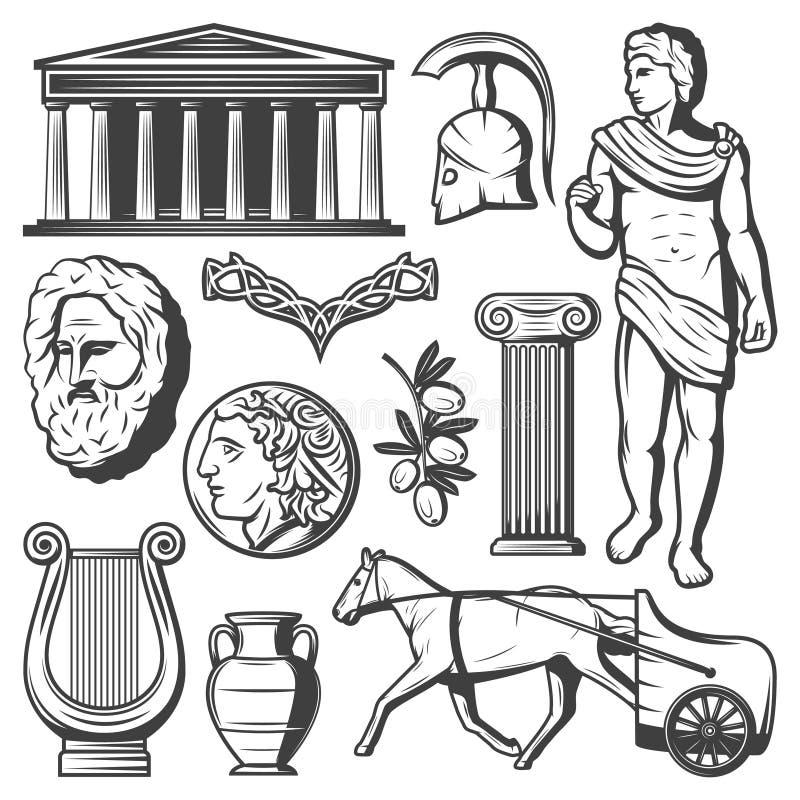 Grupo de elementos de Grécia antigo do vintage ilustração do vetor