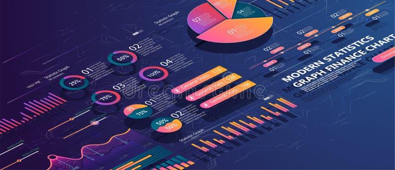 Grupo de elementos infographic coloridos do vetor: gráficos de apresentação, estatísticas dos dados e diagramas ilustração stock