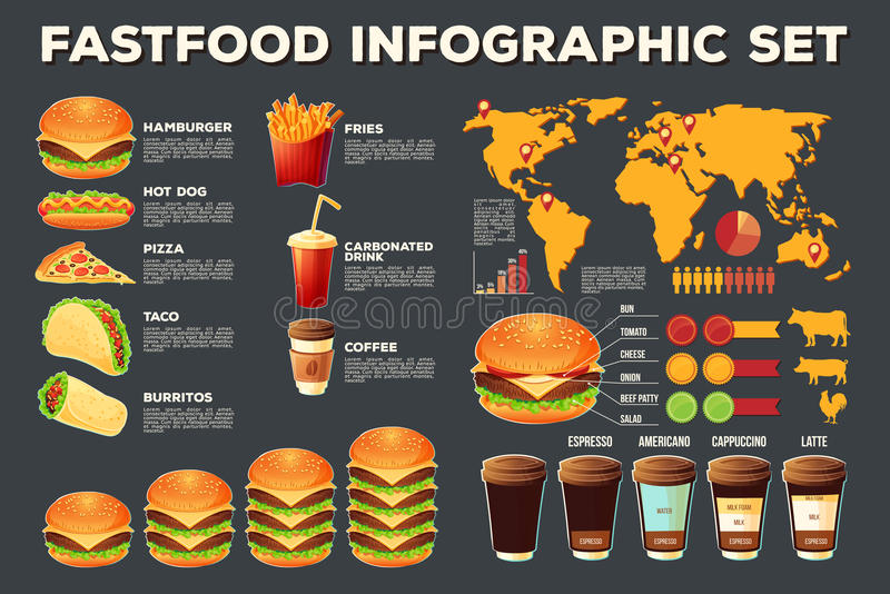 Grupo de elementos infographic do fast food do vetor, ícones ilustração royalty free