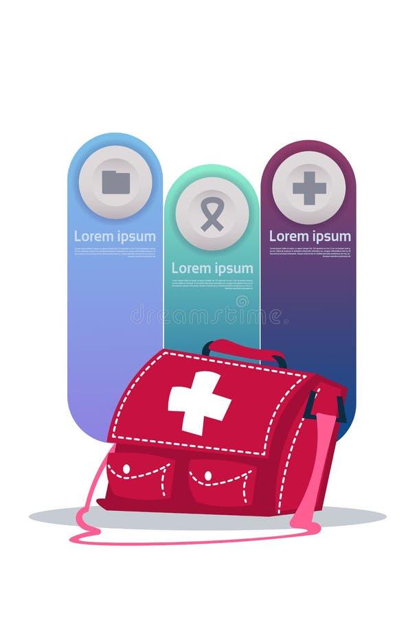 Grupo de elementos de Infographic do molde na caixa médica da caixa com conceito dos cuidados médicos das medicinas ilustração stock