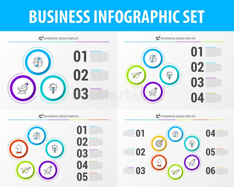 Grupo de elementos infographic do negócio Molde moderno do projeto do vetor ilustração stock