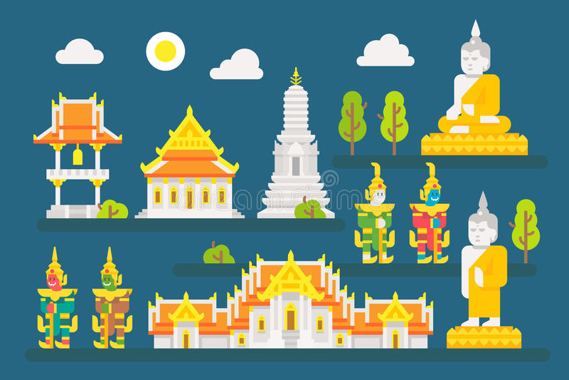 Grupo de elementos infographic do templo de Tailândia ilustração royalty free