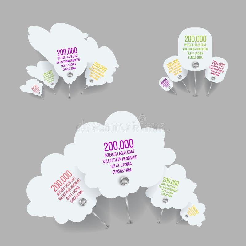 Grupo de elementos de Infographic em 3 opções ou em 12 etapas para o molde do folheto ilustração royalty free