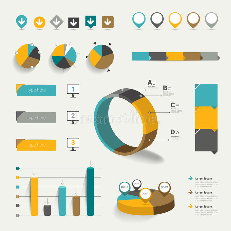 Grupo de elementos infographic lisos. ilustração royalty free