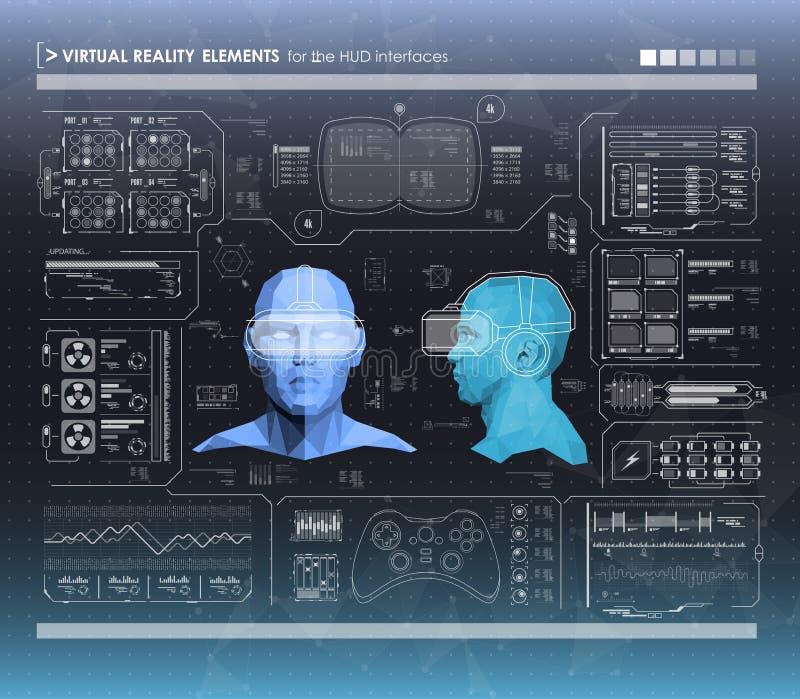 Grupo de elementos infographic preto e branco Elementos de exposição da cabeça-acima para a Web e o app Interface de utilizador f ilustração royalty free