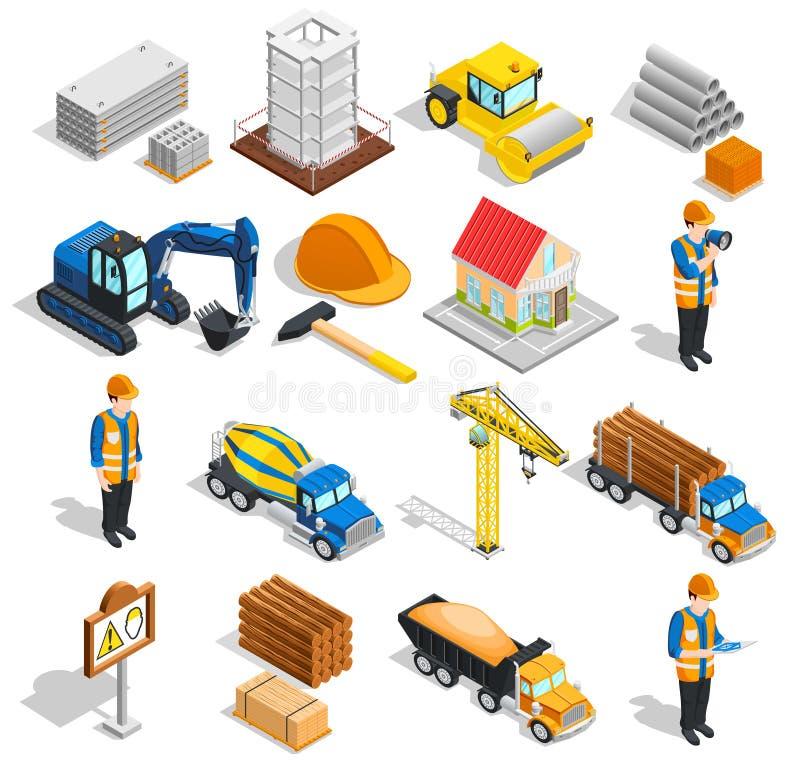 Grupo de elementos isométrico da construção ilustração stock